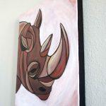 Cubist Black Rhino Painting