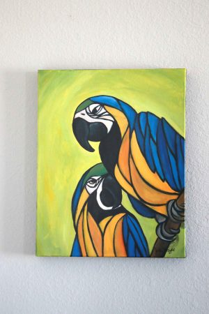 Blue and Gold Macaw Painting cubist style