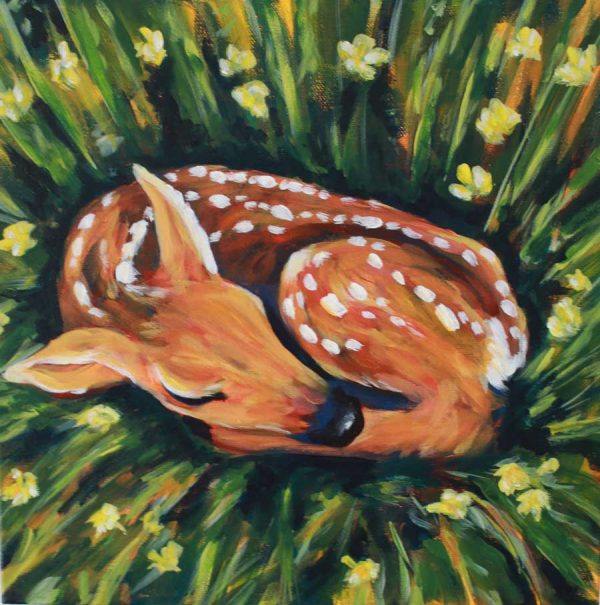 Deer Fawn painting