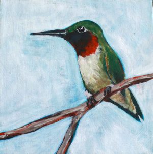 Ruby Throated Hummingbird painting