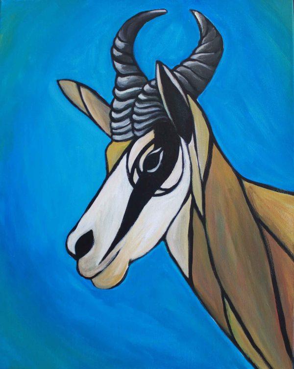 African Springbok Antelope Painting